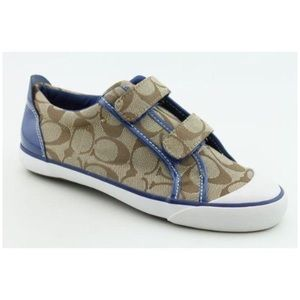 Coach Double Strap Gold Signature Canvas Sneakers